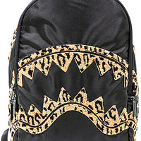 The Leopard Chenille Shark Backpack in Black