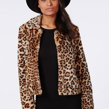 SERENA CROPPED FAUX FUR COAT LEOPARD