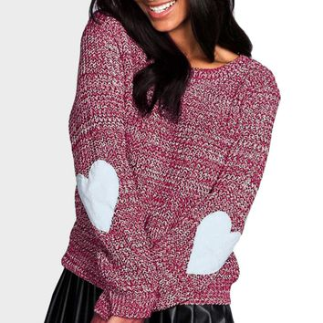 knitted Sweater Heart Patch Sleeve Loose Cardigan