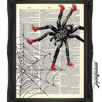 Wanna Be Spiderman Original Collage Print on an Unframed Upcycled Bookpage