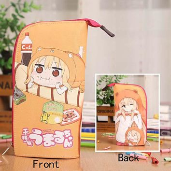 Anime Himouto! Umaru-chan Waterproof PU Leather Stationery Pouch/Brush Pot/Pen Holder/Pencil Case Bag/Office School Supplies