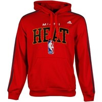 adidas Miami Heat Three Stripe Pullover Hoodie Sweatshirt - Red