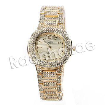 HIP HOP ICED OUT RAONHAZAE MIGOS LUXURY GOLD FINISHED LAB DIAMOND WATCH X6