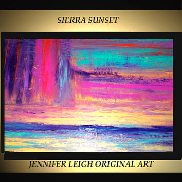 Original Large Abstract Painting Modern Contemporary Canvas Art Turquoise Pink Gold SIERRA SUNSET 36x24 Palette Knife Texture Oil J.LEIGH