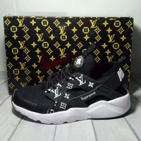 Nike x Supreme x Louis Vuitton Black/White Air Huarache Fashion Luminous Shoes Sneakers