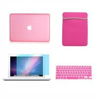 TopCase 13-Inch Macbook White A1342/Latest 4-in-1 Bundle Rubberized Pink Hard Case Cover with Matching Color Soft Sleeve Bag ,Silicone Keyboard Cover,LCD HD Clear Screen Protector and TopCase Mouse Pad
