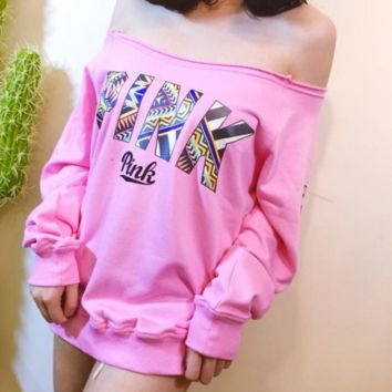 Autumn and winter section of the word collar strapless PINK palm geometric letters loose version of terry cotton long-sleeved sweater