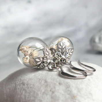 Baby's breath earrings, glass globe dry flower earrings, real plant nature jewelry, women's gift, for mom, girlfriend, sister, friend
