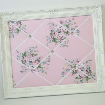Pink Floral Roses Shabby Chic fabric ~ Ornate Framed Memo Board