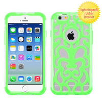 Apple iPhone 6 6S (4.7) T-Clear/Electric Green GloCase Hybrid Case Cover (Brick)