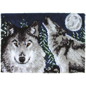 "Midnight Wolves Wonderart Latch Hook Kit 27""X40"""