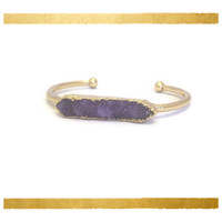 Purple Druzy Bar Bangle, 24K Gold Plated Amethyst Color Drusy Bar Bracelet, Drusy Bangle, Boho Bangle Valentine's Gift Gold Bohemian Jewelry
