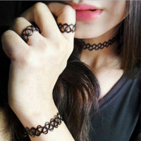 3PCS/1Set 2015Hot Sale Women Girls Vintage Stretch Tattoo Choker Necklace Bracelet Ring Set Gothic Punk Elastic Adjustable set22