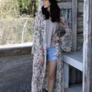Ivory Floral Bell Cardigan