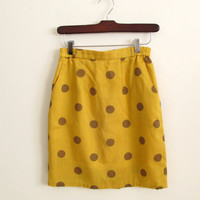 vintage 1980s mini skirt - mustard with brown polka dots - a line - xs / small
