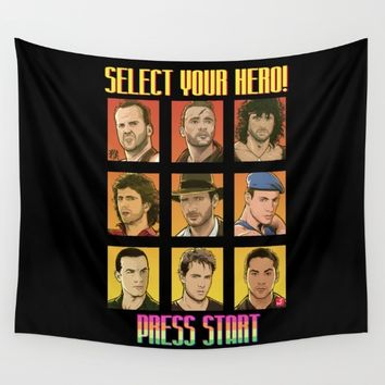 Select your hero and Press Start Wall Tapestry by Akyanyme