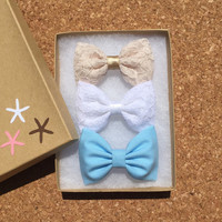 Lace and blue hair bows for teens and girls from Seaside Sparrow. girl bow Hair bows for teens bow hair bow girl Seaside Sparrow bows girl