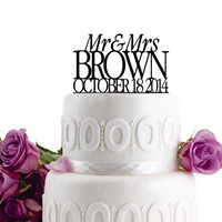 ON SALE !!! Wedding Cake Topper - Personalized Cake Topper - Mr and Mrs - Monogram Cake Topper - Cake Decor - For Anniversary