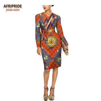 SPRING african casual women dress AFRIPRIDE full sleeve knee-length midi batik cotton dress for women with sashes A1825047