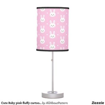 Cute Baby pink fluffy cartoon bunny pattern Table Lamp