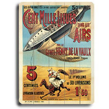Cent Mille Lieues Aviation Poster Wood Sign