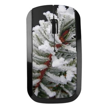 Snow-Covered Tree Wireless Mouse