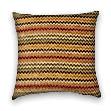 Zig-Zag Decorative Chenille Pillow Cover -- 20 x 20 Throw Pillow Cover--Rustic Colors.