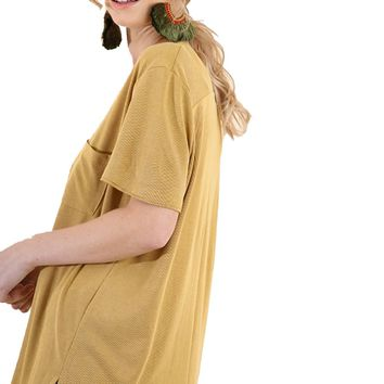 Umgee Ribbed Cupro V-Neck Top Goldenrod