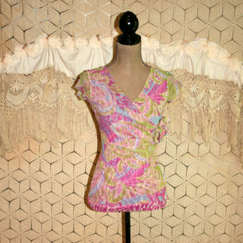 Boho Top Paisley Pink Purple Ruched Fitted Sexy Short Sleeve Tops Womens Tops XS Boho Clothing Anthropologie Womens Clothing