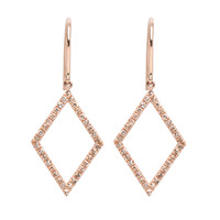 Lee Ann Jones Pave Diamond Geo Frame Drop Earrings