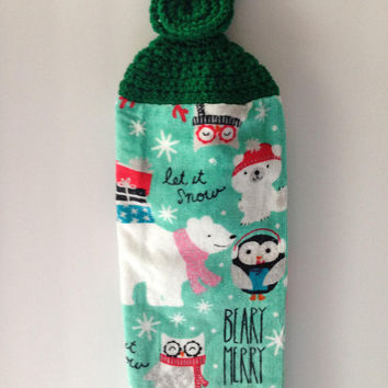 Christmas Towel - Crochet Top - Let it Snow - Merry Christmas - Green - Owls - Penguins - Hanging Towel - Handmade Crochet - Ready to Ship