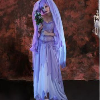 ghost bride costumes for women adult corpse bride costumes halloween dress for women zombie cosplay clothing easter clothes