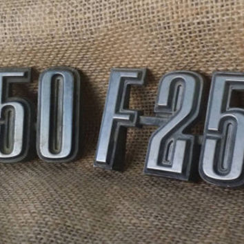 F-250 Ford Fender Emblem Cowl,  Pair of Chrome F250 Truck Fender Emblems, Ford Chrome Parts, F250 Vintage Emblems