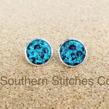 SALE Earrings Aqua Leopard Stud Earrings Boho Jewelry 12MM