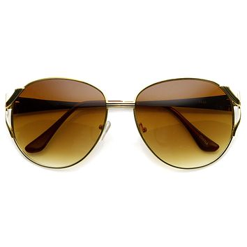 Womens Designer Oversize Metal Fashion Sunglasses 9191