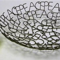 """Recycled Metal Word Bowl - PEACE - 11"""""""