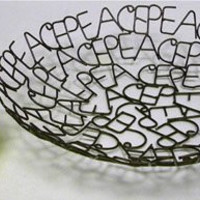 Recycled Metal Word Bowl - PEACE - 11""