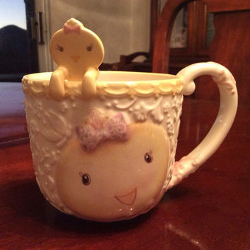 Easter Chick Mug, Coffee Mug with Peek a Boo Chick Spoon, Large Ceramic Cup with Spoon Holder, Springtime Baby Chicken
