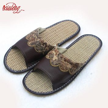 Xiuteng Hot Sales 2017 Summer Genuine Cowhide Leather Sewing men House Slippers Flat Flax Indoor Shoes home Feminina Sandals