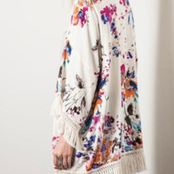 Floral Dress Spring - Fall Fashion Apricot Long Sleeve Floral Print Tassel Kimono