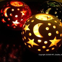 Fresh White festive new color Star Candileria by blueroompottery