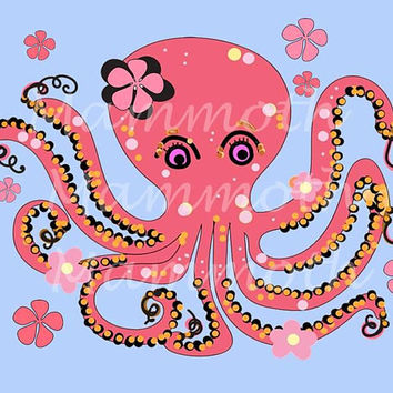 Octopus art download digital art print/ 10x8 print /Wall art/ Sea Animal digital download /Under the sea nursery/ Baby download