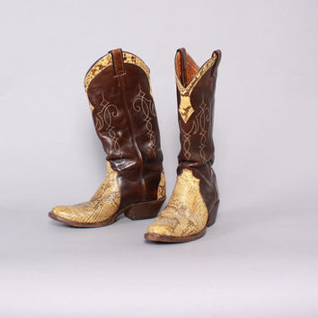 Vintage 70s Cowboy BOOTS / 1970s PYTHON Snake Skin Brown Leather Justin Boots 9