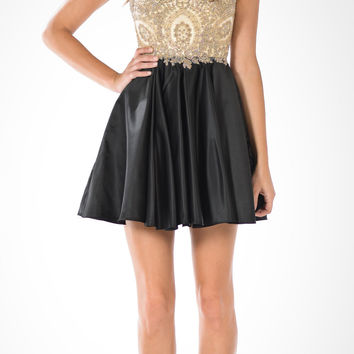 Bead Appliqued Sheer Bodice Short Satin Homecoming Dress Black