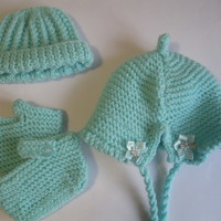 Hand knitted Baby Booties and Hat Set - green boys floral flower (0 - 4 months)