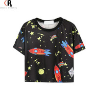 2016 Summer Latest New Women Casual Rocket Stars Print T-Shirt Crop Top in Black Loose One Size High Quality