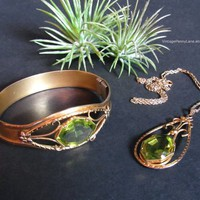 Vintage Necklace and Bracelet Set, Green Peridot Stones, Gold Filled Chain, Bangle / Pendant, Costume Jewelry