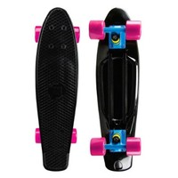 "Mayhem Penny Style Board BLACK BLUE PINK 22"" Plastic Cruiser Board Old School Abec 7"