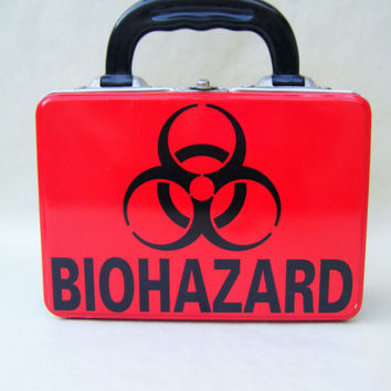 Radioactive Biohazard Vintage Metal Lunch Box 1990s Back to School Medical Nuclear Scientist Science Laboratory Red Yellow SciFi Biology