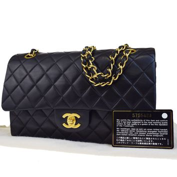 Auth CHANEL CC Matelasse Double Flap Quilted Chain Shoulder Bag Leather 307L302